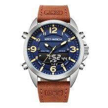 Kt 럭셔리 시계 남자 2020 최고의 브랜드 가죽 시계 남자 석영 아날로그 디지털 방수 손목 시계 큰 시계 시계 klok kt1818