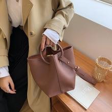 High-quality Ladies Autumn Retro Ring Handbag 2021 New Female Bag Simple Korean Single Shoulder Messenger Bucket Female Bag