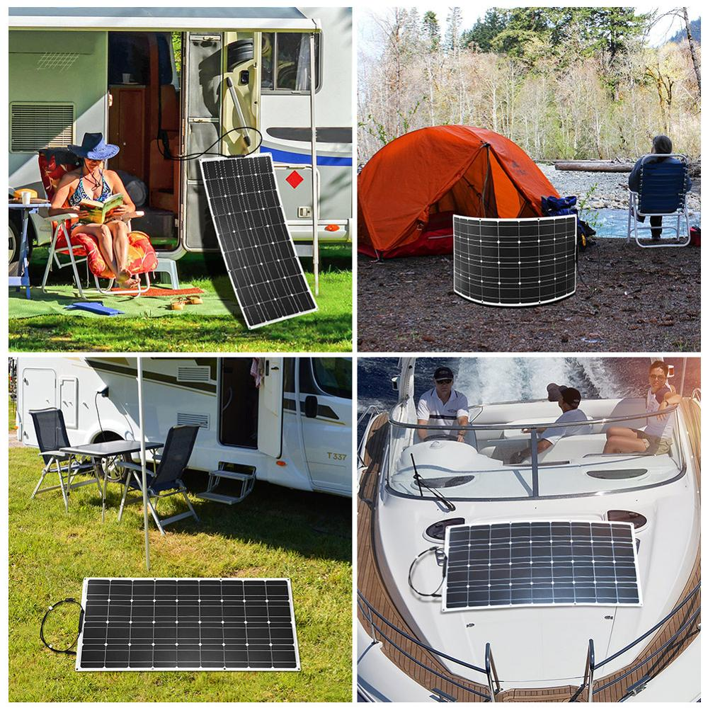 Dokio 12V 100W Flexible Monocrystalline Solar Panel For Car/Boat/ Home Solar Battery Can Charge 12V Waterproof Solar Panel China 4