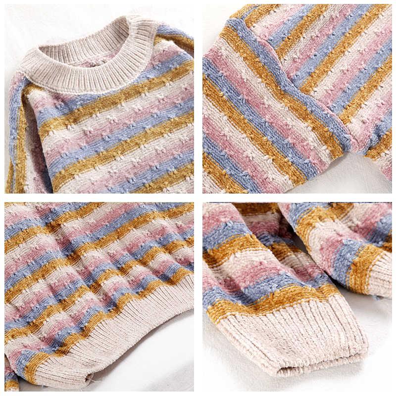 Hirsionsan Chenille Patchwork Color suelto suave mujer cuello redondo suéter otoño invierno nuevo Rosa Khaki Streetwear Jersey de punto