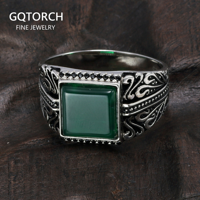 925 Sterling Silver Rings Mens Rings Vintage Flower Engraved Black Green Red Natural Onyx Stone Square Shape Punk Turkey Jewelry