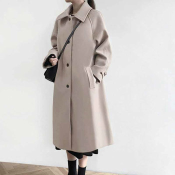2021 Wool Coats Autumn Winter Women Casual Loose Woolen Clothes Female Single-breasted Lapel Long Outerwear Korean Abrigos Mujer fashion women wool coat plaid classics female loose long single breasted coats 2020 autumn winter jackets trench outerwear