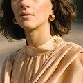 Yhpup Einfache Runde Metall Hoop Ohrringe Erklärung Gold Textur Ohrringe Mode Geometrische Kupfer Schmuck für Frauen Partei Geschenk Neue