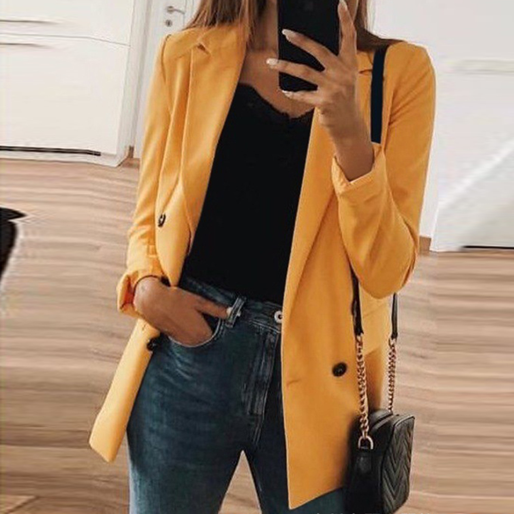 SFIT 2020 Autumn Female Suit New Coat Female Fashion Solid Color Cardigan In The Long Section Of The Suit Jacket Female