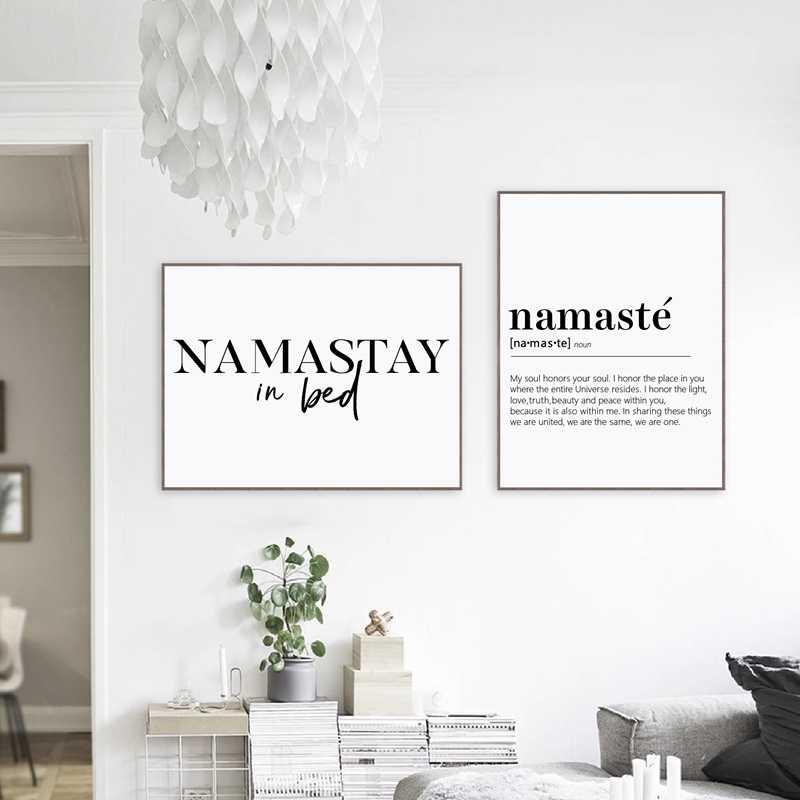 Abstrakte Wand Kunst Bild Schwarz und Weiß Namaste Definition Leinwand Malerei Yoga Kunstwerk Zen Poster und Drucke für Wohnzimmer