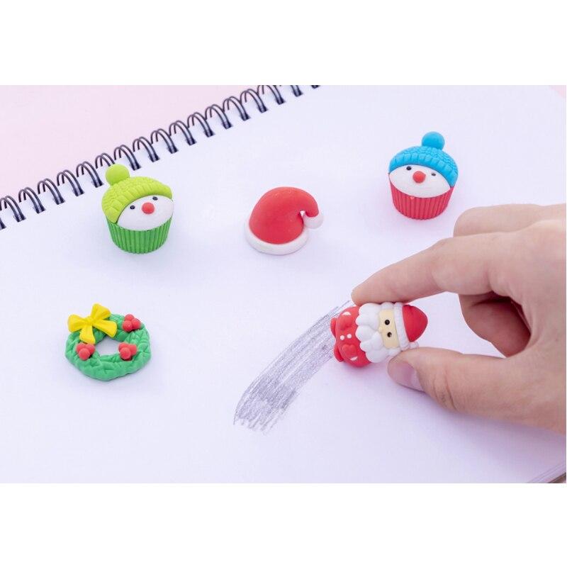 10packs/lot Cartoon Santa Snowman Christmas Rubber Eraser Kawaii Stationery School Supplies Papelaria Kids Gift