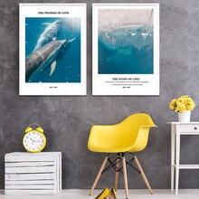 Минималистичный дельфин скандинавские плакаты и принты Настенная