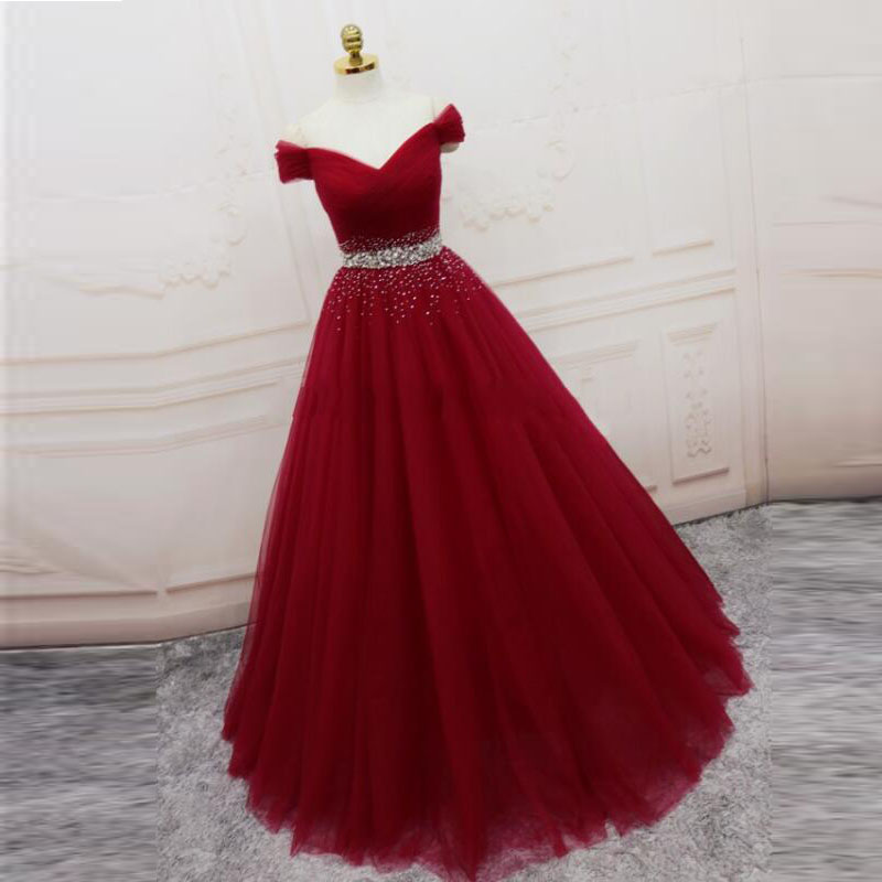 Off Shoulder Burgundy Beaded Tulle A Line Long Prom Dresses Floor Length Women Prom Party Gowns Custom Made 2020
