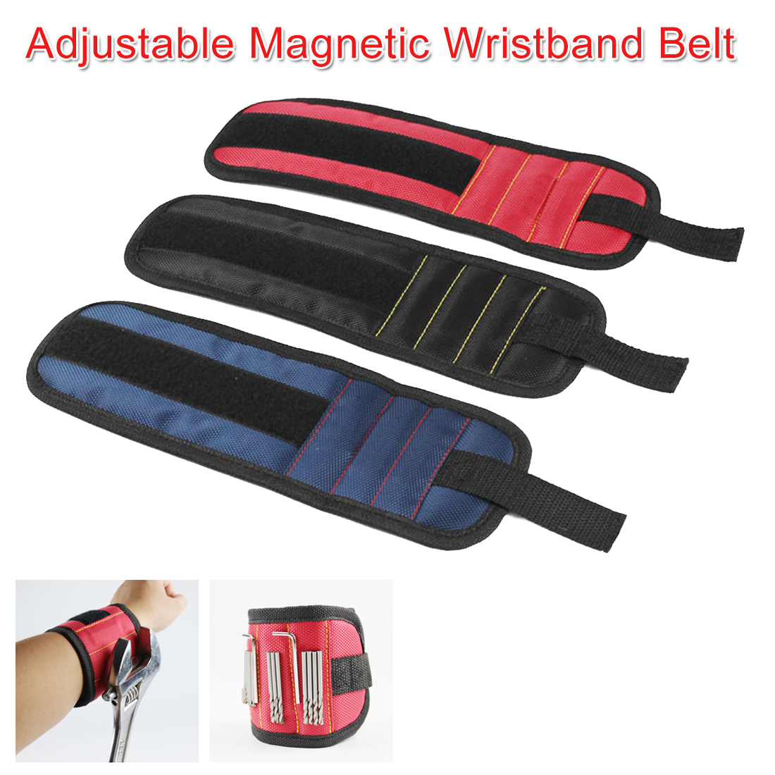 Strong Magnet Wristband Tool Adjustable Tool Wrist Bands For Screws Nails Nuts Bolts Hand Free Drill Bit Holder For Home Repair