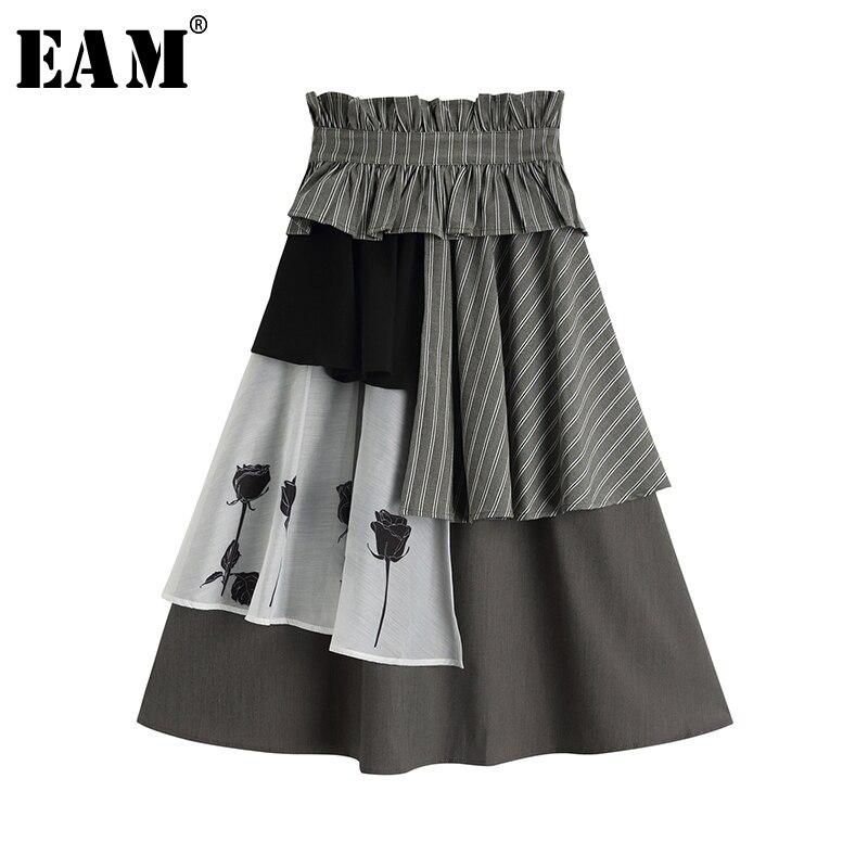 [EAM] High Elastic Waist Gray Striped Pattern Printed Ruffles Half-body Skirt Women Fashion Tide New Spring Autumn 2020 1S389