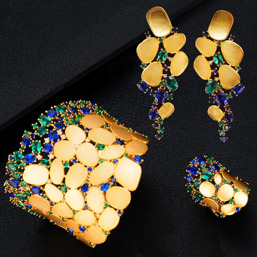 missvikki New Hot 3PC Bracelet Ring Earring Set For Women Bridal Wedding Shiny Cubic Zircon Dubai missvikki New Hot 3PC Bracelet Ring Earring Set For Women Bridal Wedding Shiny Cubic Zircon Dubai PARTY WEDDING Jewelry BOHO