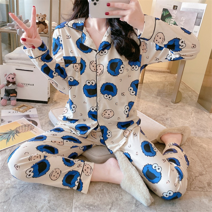 Lapel Casual Pajamas For Women Spring Summer Casual Pyjamas For Girl Loose Comfortable Female Sleepwear Indoor Wear