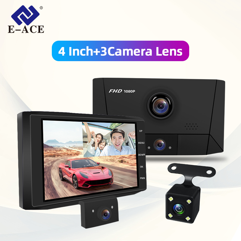 E-ACE B13 Auto Dvr 4,0 Zoll 1080P FHD Dash Cam 3 Kamera Objektiv Video Recorder Dual Objektiv Auto Registrator mit Rückansicht Kamera Dvrs