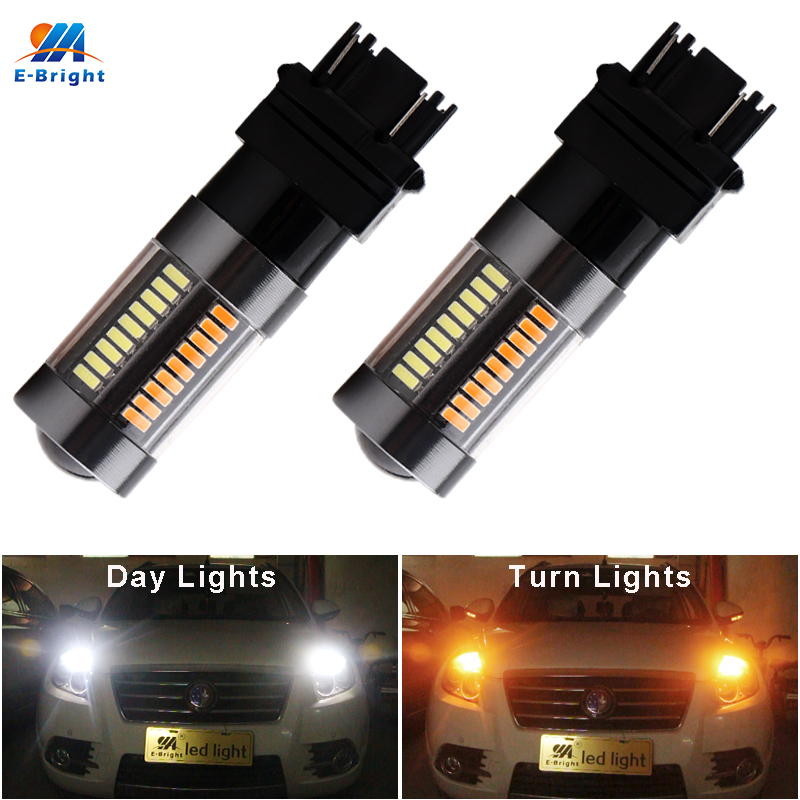 YM E-Bright <font><b>T25</b></font> <font><b>Led</b></font> P27/5W 12V Switchback Dual Color White+Amber 990Lm Car <font><b>Led</b></font> Bulbs Turn Lights 3157 DRL 4014 Automobile 2PCS image