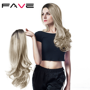 Image 3 - FAVE Mixed Black Ash Light Brown Blonde Synthetic Wig Body Wave MiddlePart Heat Resistant Fiber For Black Women Cosplay Long Wig