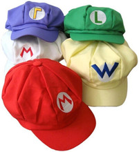 Anime Super Mario Cosplay Octagonal Hat Child Adult Mario Bros Cotton Striped Caps Five Colors Outdoor Baseball Adjustable Cap(China)