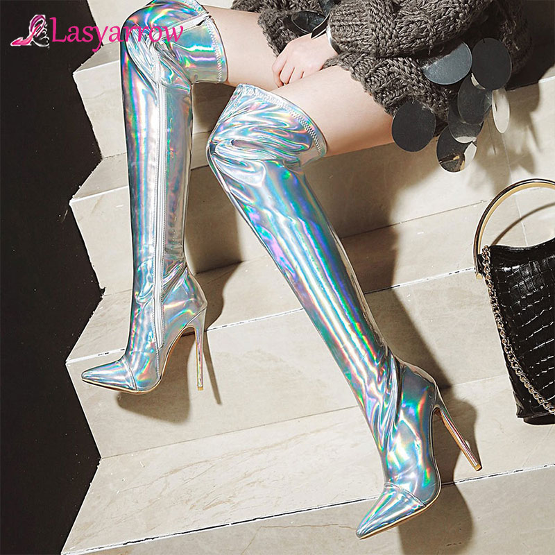 Lasyarrow Women's Thigh High Stiletto Boots Sexy Over the Knee Boots Sexy Women Boots Gold Silver Patent Leather Long Boots F564