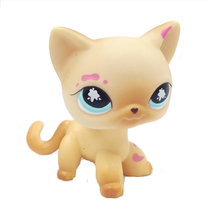 Real Original Pet Shop Cute Toys Standing Short Hair Cat #816 Old Rare Yellow Kitty Girls Lovely Gifts