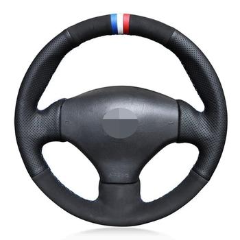 Osłona na kierownicę do samochodu miękkie czarne prawdziwa skóry zamszowe osłona na kierownicę do samochodu s dla Peugeot 206 1998-2005 206 SW 206 tanie i dobre opinie HKOADE CN (pochodzenie) Górna warstwa skóry Kierownice i piasty kierownicy 0 33kg Four seasons general purpose XCV3 Iso9001