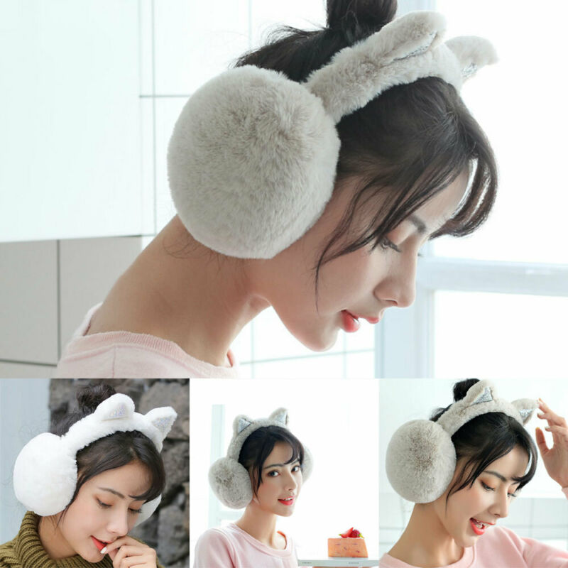 Ladies Girls Winter Plush Ear Pad Glitter Solid Soft Cat Earmuffs Headband Warmer Outdoor
