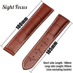 Image 5 - 18mm 19mm 20mm 21mm Bracelet en cuir pour Omega montre vitesse couturière Bracelet fermoir déployant noir marron Bracelet de montre Bracelet ceinture
