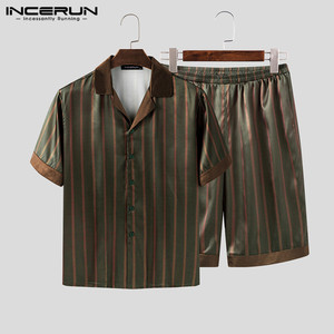 INCERUN Men Leisure Striped Pajamas Sets Baggy Comfortable Homewear Suits Short Sleeve Lapel Blouse Elastic Shorts Sleepwear 5XL(China)