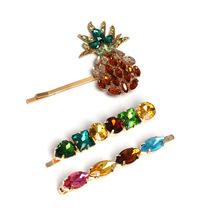 Crystal Pineapple Hair Clips Women Colorful Rhinestones Hairpin Accessories Hairpins for Girls Jewelry Gift 3pcs/set