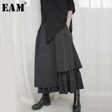 EAM-Falda plisada asimétrica para mujer, falda de media cuerpo con cintura elástica alta, color negro, tendencia, primavera y otoño, 2021, 1S664