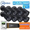 Movols 8CH AI CCTV камера система 1080P камера видеонаблюдения камера DVR комплект Водонепроницаемая наружная домашняя система видеонаблюдения