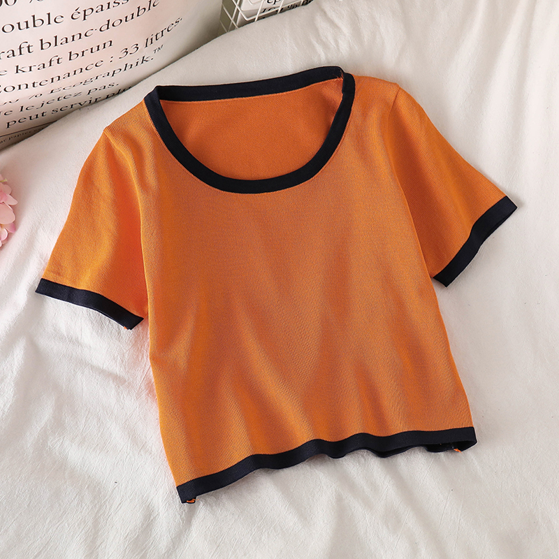 OUMEA Women Knitted T Shirts Contrast Color Crop Top Slim Fit Chic Female Casual Clothing Simple Basic Knitted Going Out Tee New