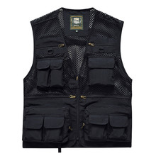 Outdoor Fishing Vest Multi-pocket Quick Dry Sleeveless Jackets Mesh Breathable Hunting Vest For Camping Hiking Tactical Vest multi pocket tactical vest black male vest outdoor male cs field equipment breathable mesh