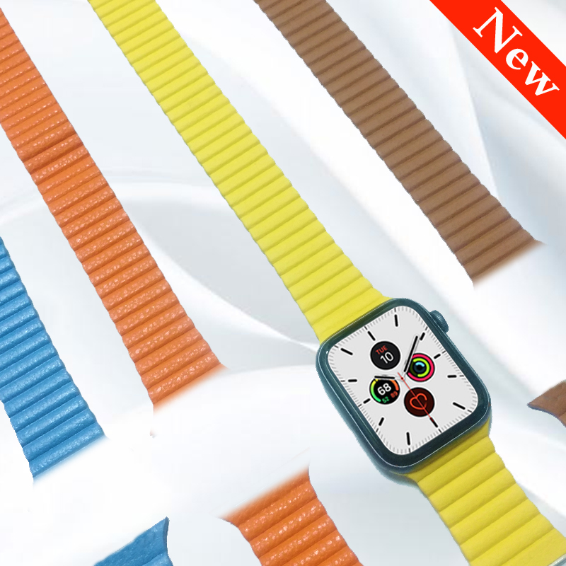 Genuine Leather Loop For Apple Watch Band 44mm 40mm Iwatch 5 4 3 2 Band 42mm 38mm Strap Bracelet Belt Magnetic Adjustable