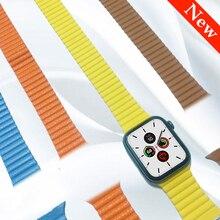 Genuine Leather Loop for apple watch band 44mm 40mm strap iwatch 4 3 2 1 band 42mm 38mm wrist belt bracelet Magnetic Adjustable цена