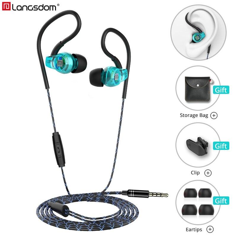 Langsdom Sp80B Wired Headphone Anti-Fall Sweatproof Earphones With Microphone Sports Bass Headphones Headset For Phone Mp3 3.5mm