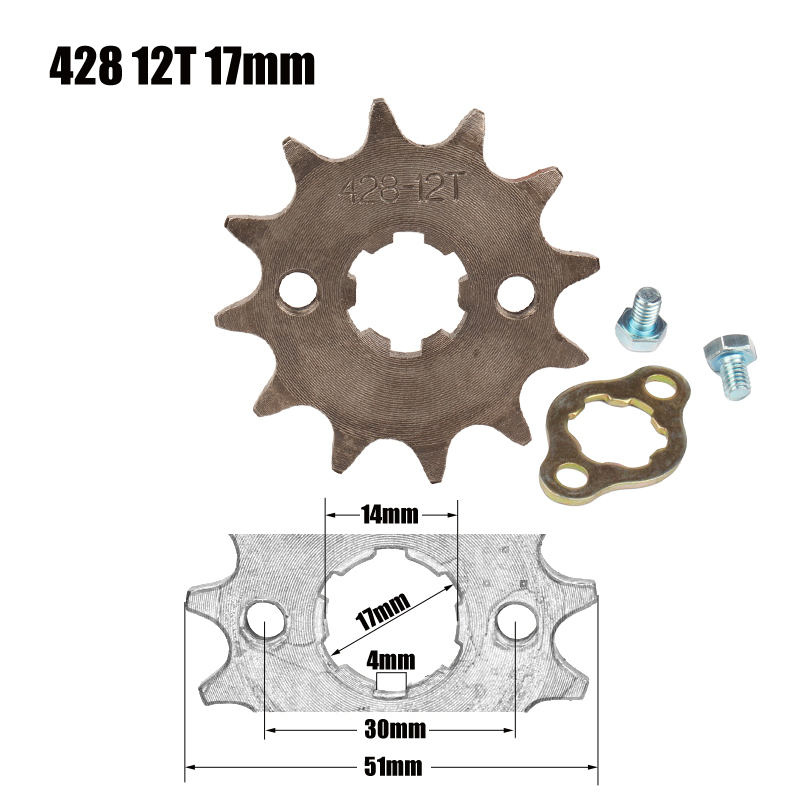428 Chain 12T 17mm Front Engine Sprocket For 50cc to <font><b>125cc</b></font> Dirt Bike ATV Go Kart Quad <font><b>Pitbike</b></font> Buggy Motorcycle image