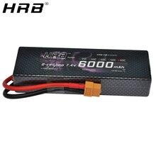 HRB Lipo 배터리 2S 7.4V 6000mAh 60C XT60 T Deans TRX EC5 XT90 RC 부품 Traxxas 비행기 용 하드 케이스 자동차 보트 4x4 1/8 1/10