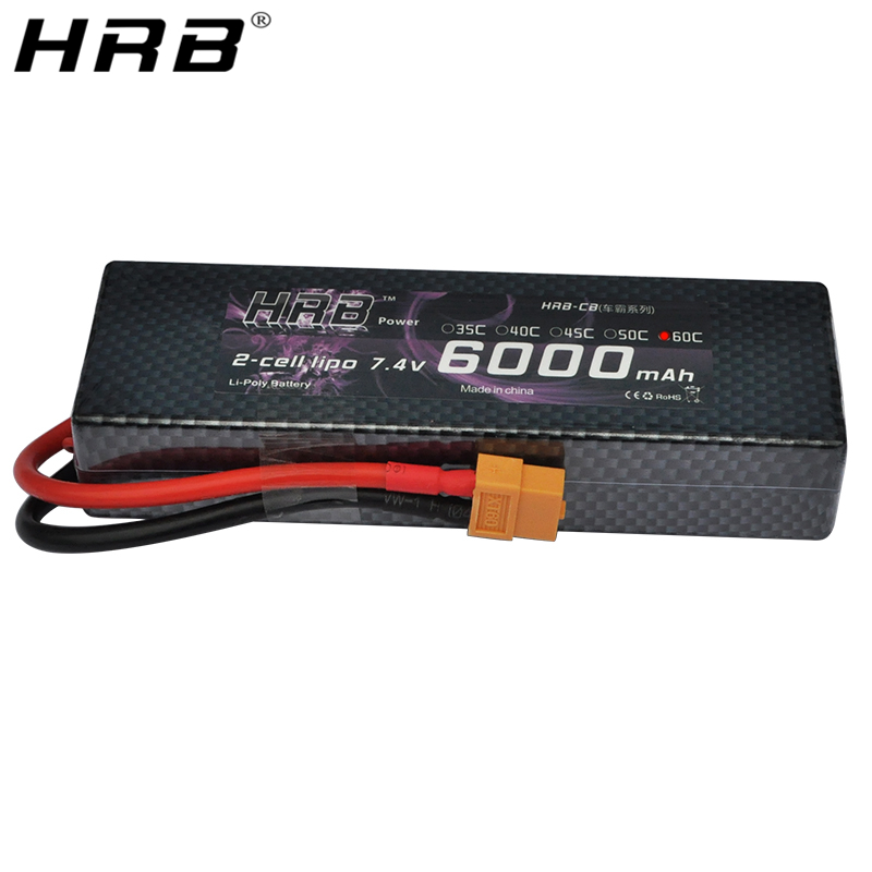 HRB Lipo Battery 2S 7.4V 6000mAh 60C XT60 T Deans TRX EC5 XT90 RC Parts Hard Case For Traxxas Airplanes Cars Boats 4x4 1/8 1/10