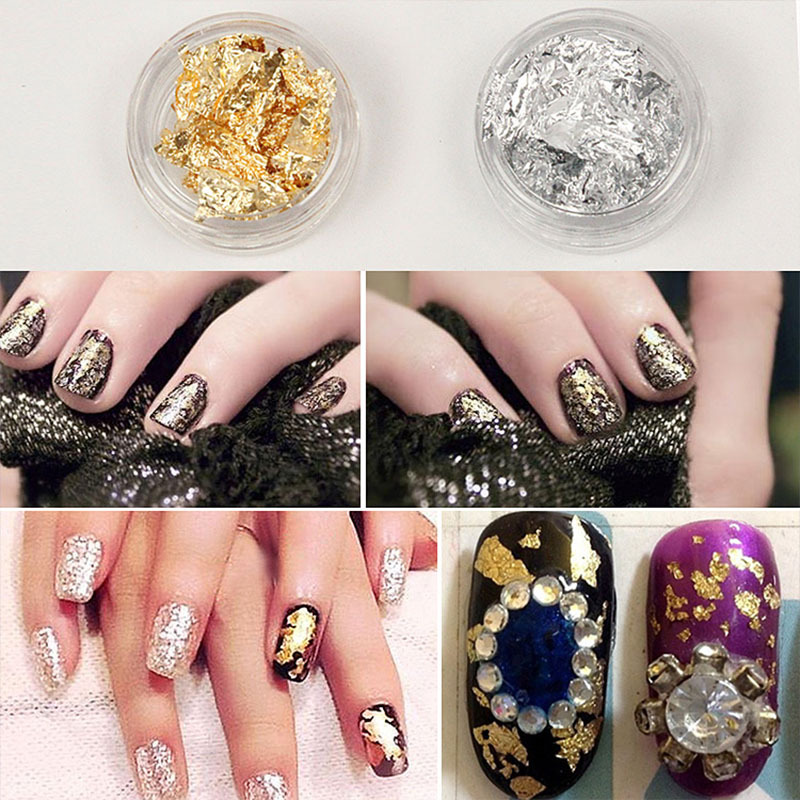 [Cross Border Specifically For] Manicure Supplies Gold Foil Nail Sticker Metal Effect Sequin Network Red Shell Shimmering Powder