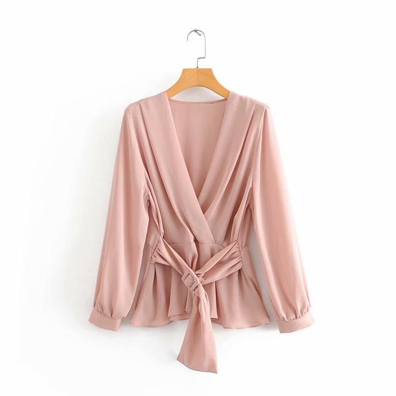 New Women Pleats V Neck Solid Color Casual Belt Kimono Blouse Shirts Office Ladies Long Sleeve Chic Blusas Femininas Tops LS6067