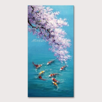 Mintura Wall Picture for Living Room Oil Paintings on Canvas Hand Painted Beautiful Lake and Goldfish Hotel Decor Art  No Framed