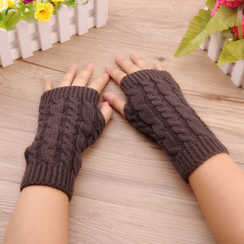 2020 Winter Gloves Women Stylish Hand Warmer Gloves Arm Crochet Knitting Faux Wool Mitten Warm Fingerless Glove Gants Femme pair of stylish solid color faux fur fingerless gloves for women