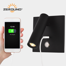 ZEROUNO LED wall Light with switch Bedroom indoor lighting bedside Wall lamp USB night LED Reading 3W LED wall Sconce luminaria