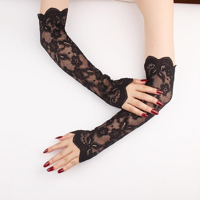 Dame Fingerlose Elastische Hülse Sommer Sunproof Arm Ärmeln Sexy Spitze Handschuhe Frauen Fahren Handschuh Gefälschte Ärmeln Klassische Lange Handschuh