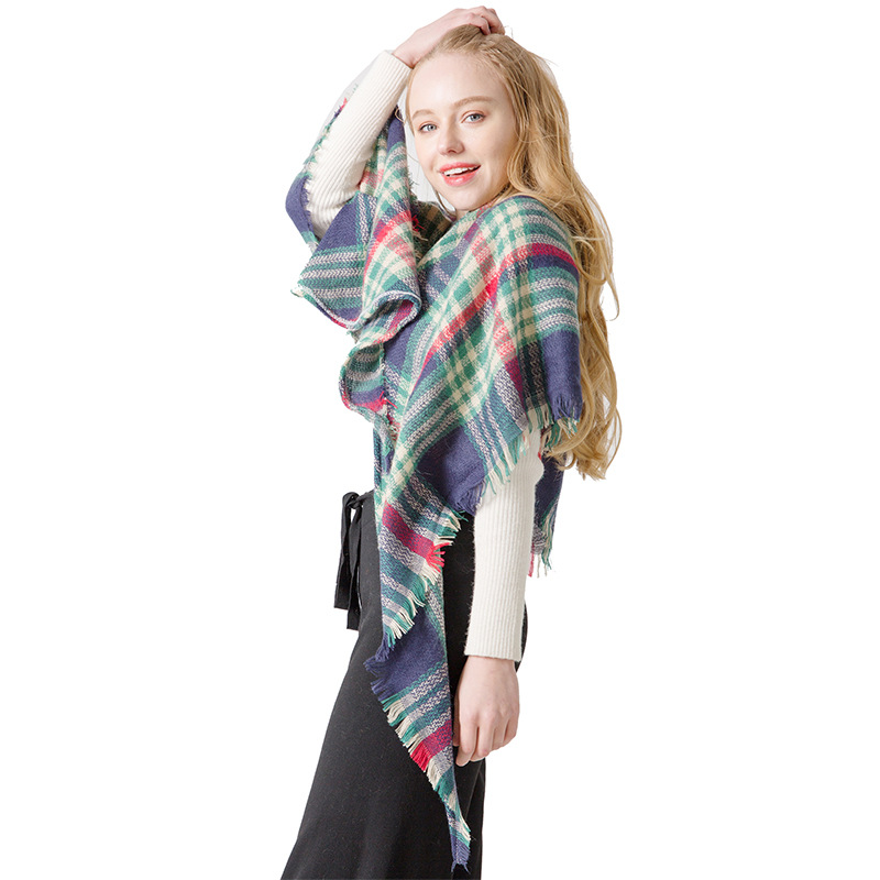AliExpress Burst Sell Europe And America Faux Cashmere Colorful Plaid Kerchief Triangular Plaid Scarf Air Conditioner