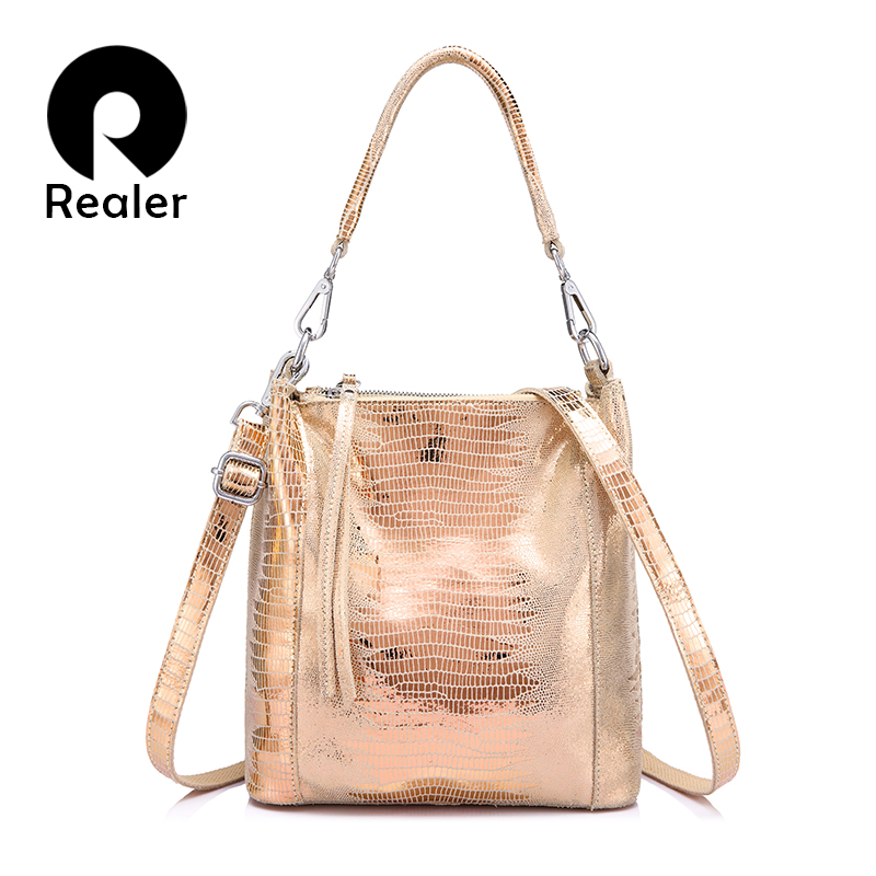 REALER Women Handbags Genuine Leather Shoulder Bags Crossbody Female Animal Prints Messenger Hobos Bags Ladies Small Top-handle