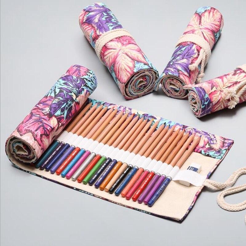 12/24/36 Holes Pencil Case Kawaii School Canvas Roll Maple Leaf Large Pen Bag For Girls Boys Pencil Box Stationery Pouch Box