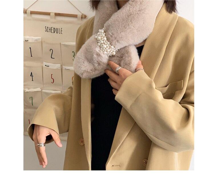 Winter Diamond Faux Fur Wrap Scarf