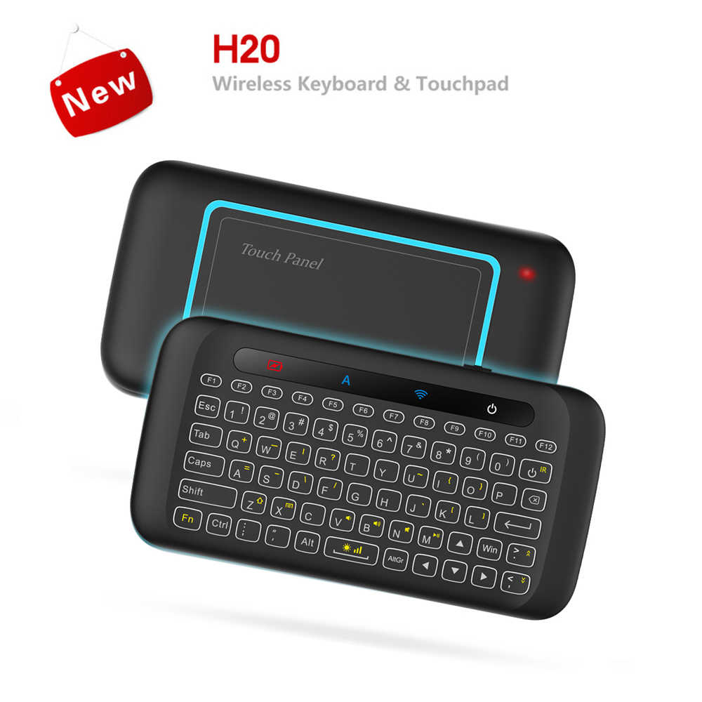 H20 2.4 ghz mini teclado sem fio backlight multi-toque touchpad rato de ar com bateria de 280 mah longo standy para a caixa de tv smart pc