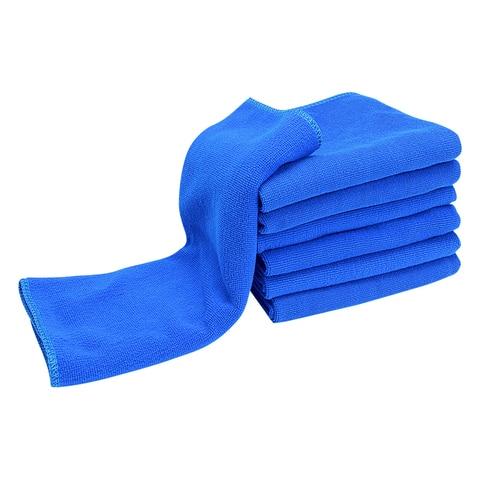 5 pcs azul 30x70cm microfibra panos de lavagem de carro absorvente toalha de secagem de