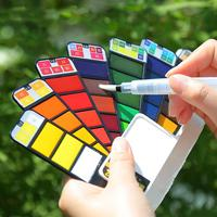 Superior 18/25/33/42 Color Solid Watercolor Paint Set Foldable Fan-shaped Portable Paint